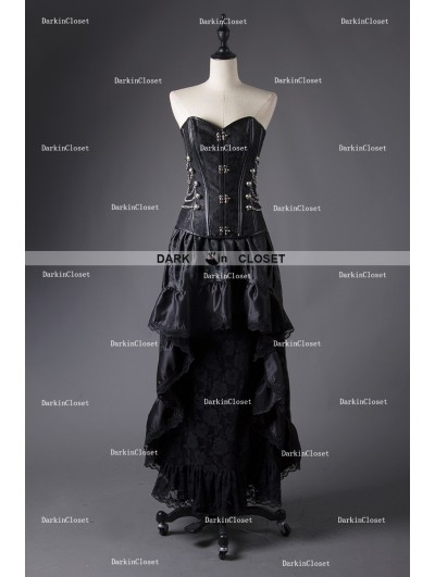 Rose Blooming Black Steampunk Lace Gothic Corset Prom Party Dress