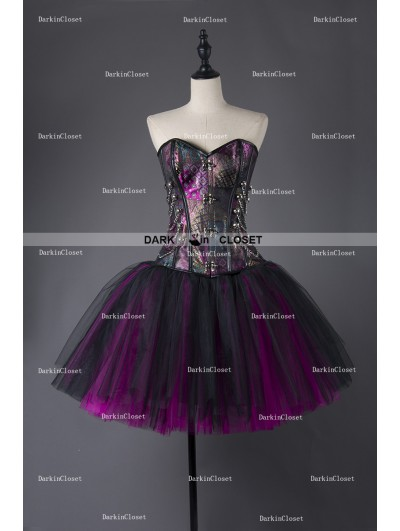 Rose Blooming Steampunk Style Gothic Short Burlesque Corset Prom Party Dress