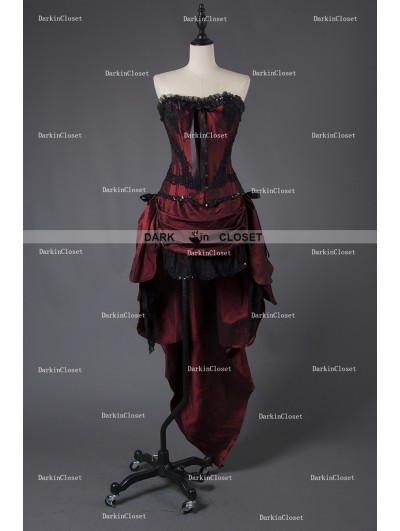 Rose Blooming Wine Red Gothic Short Burlesque Corset Prom Party High-Low Dress