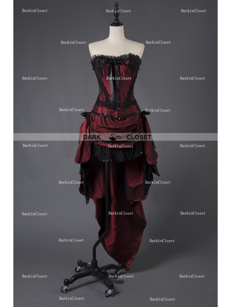 af929559022 Rose Blooming Wine Red Gothic Short Burlesque Corset Prom Party High-Low  Dress