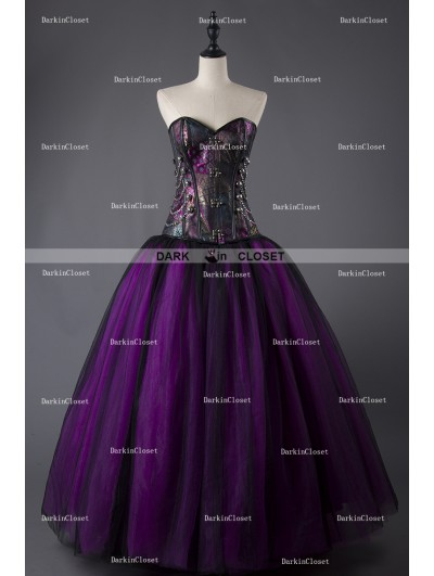 Rose Blooming Purple and Black Steampunk Style Gothic Corset Long Prom Dress