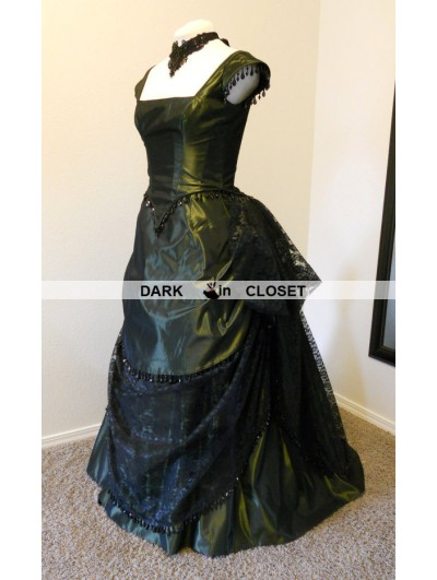 Green and Black Lace Beading Victorian Bustle Evening Gown