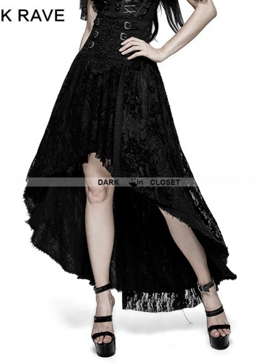 Punk Rave Black Gothic Positioning Flowers Decadent Half Skirt