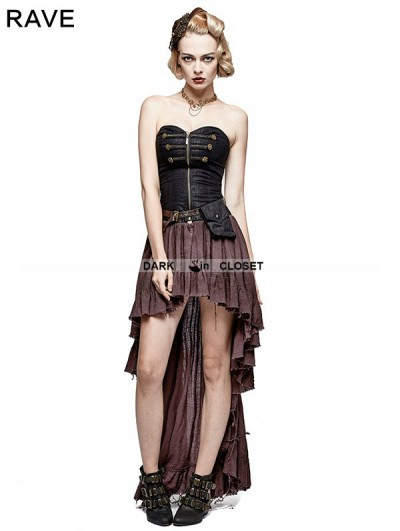 Punk Rave Coffee Steampunk High-Low Corset Dress