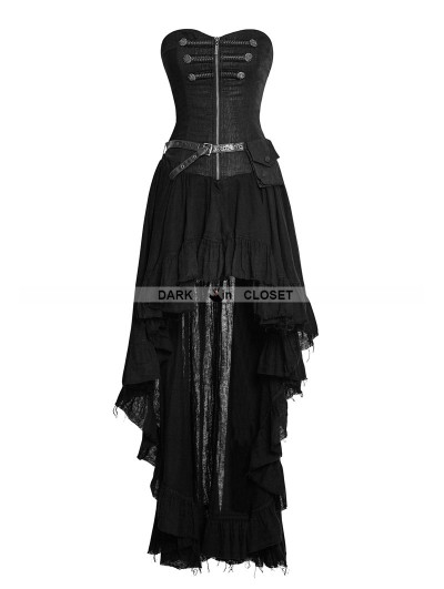 Punk Rave Black Steampunk High-Low Corset Dress