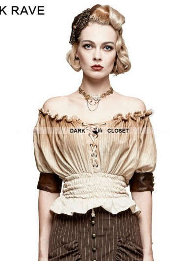 Punk Rave Ivory Steampunk Slash Neck T-shirt for Women
