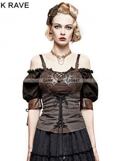 Punk Rave Coffee Steampunk Gear Burnt Out Vest for Women