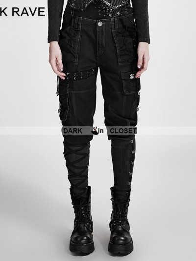 Punk Rave Black Gothic Workwear Multi Pockets Pants For Women