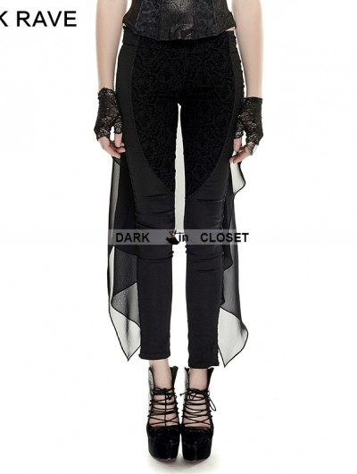 Punk Rave Black Gothic Forktail Trousers For Women