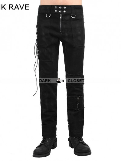 Punk Rave Black Gothic Punk Men Basic Pants