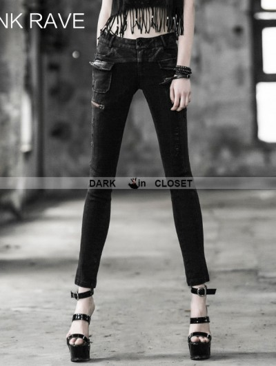 Punk Rave Gothic Punk Women Daily Look Tight Pencil Jeans