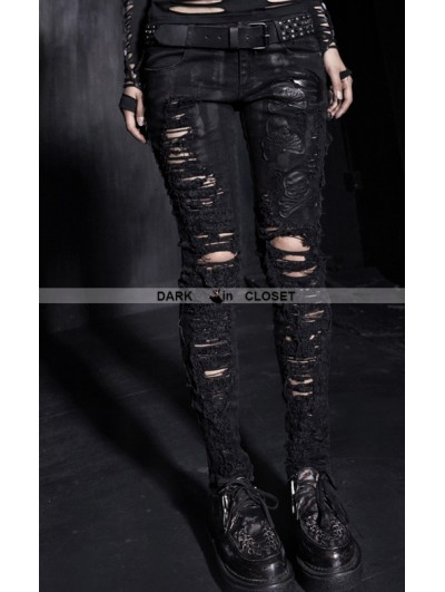 Punk Rave Black Gothic Wool Washing Moutch Patch Jeans