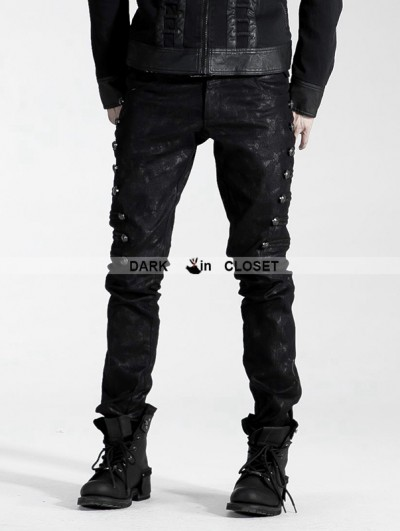 Punk Rave Black Gothic Male Rivet Side Decorated Jeans