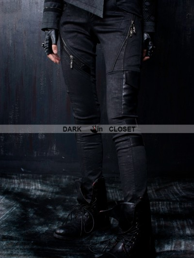 Punk Rave Black Gothic Leather Splicing Women Pants