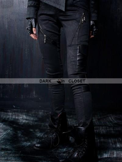 Punk Rave Black Gothic Leather Splicing Women Pants