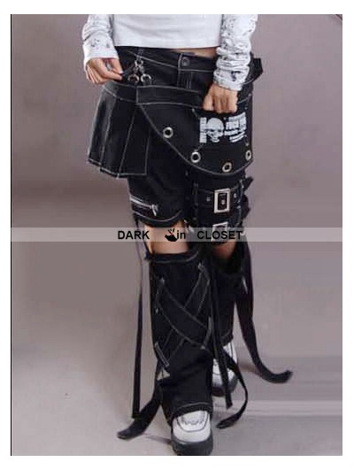 Punk Rave Women Gothic Punk Three-piece Pant-skirt