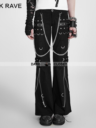 Punk Rave Fashion Punk Style Women' Black Bell-bottom Trousers Flared Pants