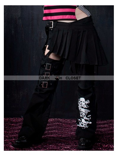 Punk Rave Black Gothic Skirt Splicing Pants