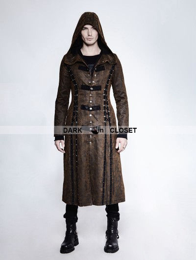 Punk Rave Dark Coffee Gothic Retro Style Leather Overlength Hoodie Coat For Men