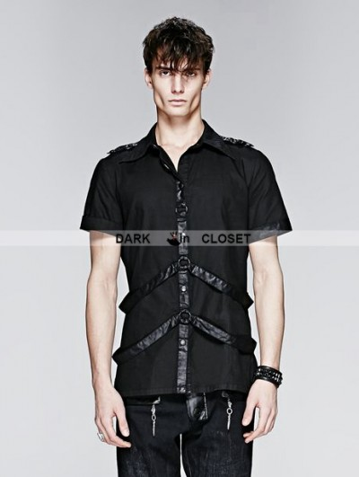 Punk Rave Black Gothic Man Short Sleeves Shirt With Leather Loops