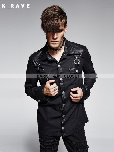 Punk Rave Black Gothic Denim Bamboo Fabrics Long Sleeves Shirt For Men