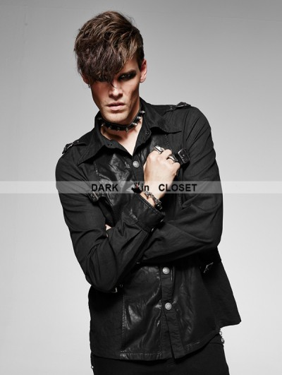 Punk Rave Black Gothic Spliced Leather Vintage Male Long Sleeves Shirt