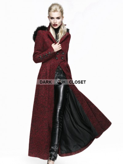 Punk Rave Gothic Woolen Black And Red Women Long Coat With Hat
