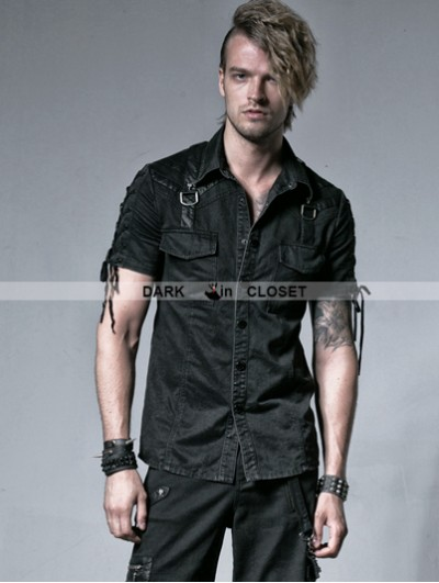 Punk Rave Black Gothic Punk Male Rope-tieing Short Sleeves Shirt