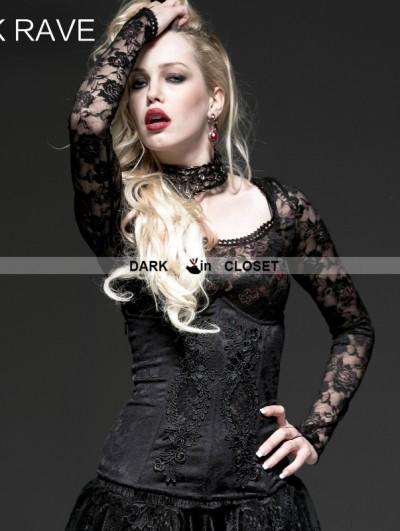 Punk Rave Black Gothic Laciness Hollow Jacquard Corset