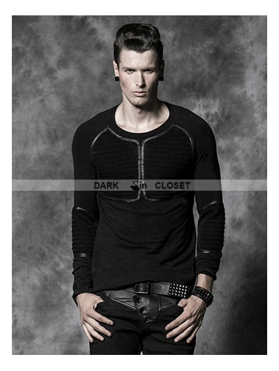 Punk Rave Black Gothic Men Basic Long Sleeves Woolen Shirt