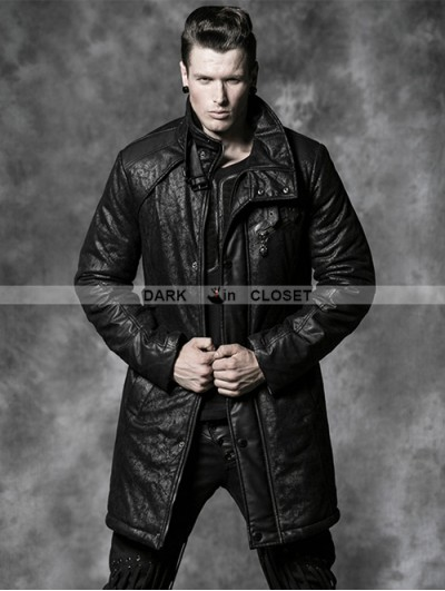 Punk Rave Black Gothic Crack Wash Long Coat For Men