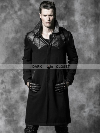Punk Rave Black Gothic Spell Leather Long Coat For Men