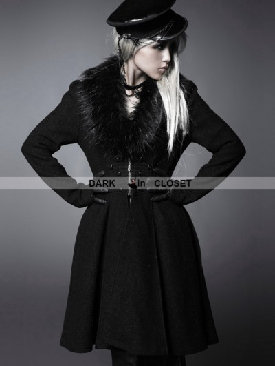 Punk Rave Black Gothic Big Fur Collar Woolen Knee Length Coat For Women