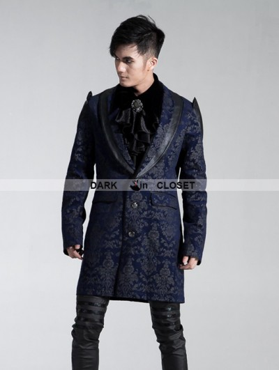 Punk Rave Black-blue Gothic Palace Style Printing Dress Jacket For Men
