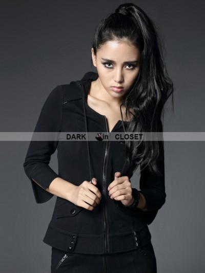 Punk Rave Black Gothic Elastic Seventh-sleeves Hoodie Coat For Women