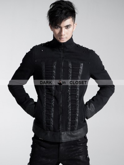 Punk Rave Black Gothic Men Coarse Cotton Rope Spell Leather Coat