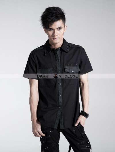 Punk Rave Black Gothic Men Punk Basic Short Sleeves Shirt