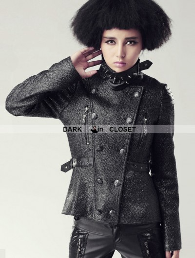 Punk Rave Black Gothic Heavy Metal Spike Military Coat For Women