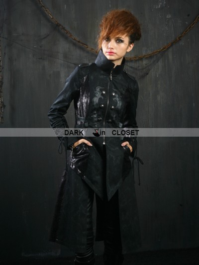 Punk Rave Black Gothic Female Overlength Coat