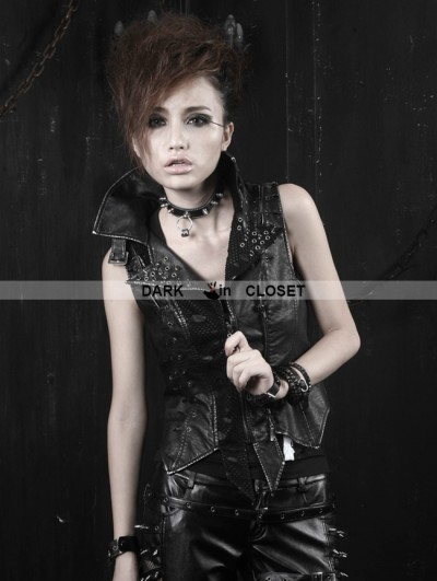 Punk Rave Gothic Black Washing Leather Locomotive Vest For Women