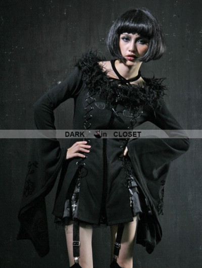 Punk Rave Black Gothic Halter Trumpet Sleeves Coat For Women