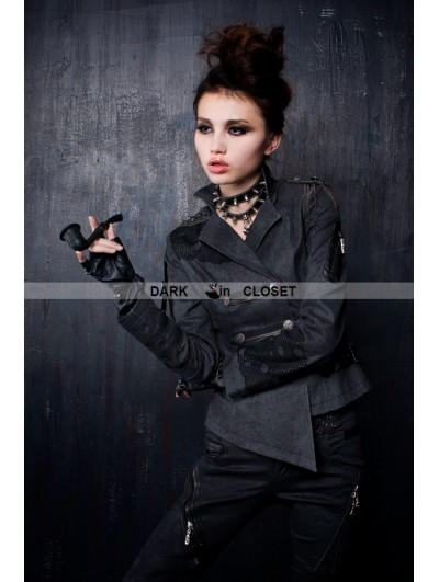 Punk Rave Black Gothic Fringed Epaulets Military Coat For Men