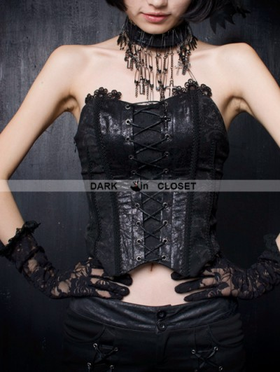 Punk Rave Black Gothic Phoenix Style Overlength Gauze Tail Croset