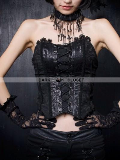 Punk Rave Black Gothic Phoenix Style Overlength Gauze Tail Croset