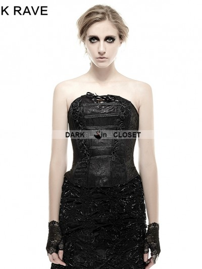 Punk Rave Gothic Jacquard PU Leather Button Corset