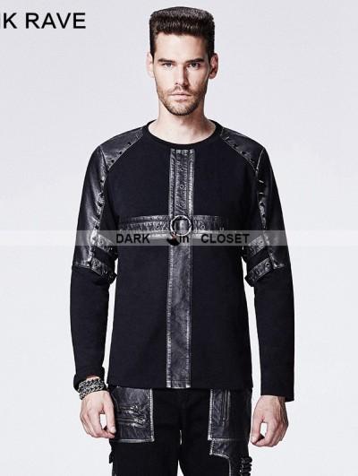 Punk Rave Black Gothic Rivet Punk Male T-shirt