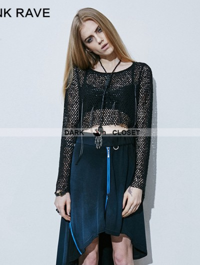 Punk Rave Black Gothic Knitted Mesh Tassels T-shirt For Women
