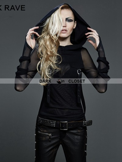 Punk Rave Gothic Dark Fashion T-shirt with Big Hood For Women