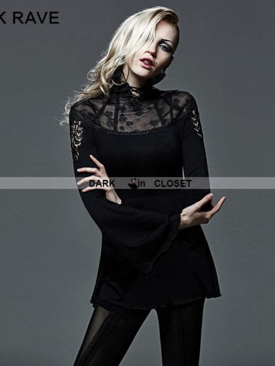 Punk Rave Black Gothic Hollow-out Tailor Network Turtleneck T-shirt For Women