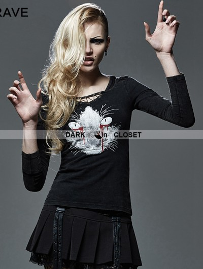 Punk Rave Black Gothic Women Punk with Bleeding Cat T-shirt